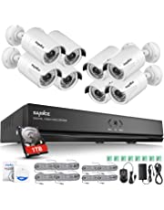 SANNCE 1080P Sistema de Seguridad PoE NVR 8CH 1080P y 8 Cámaras IP de vigilancia 2MP Visión Nocturna hasta 50m IP66 Impermeable Interior/Exterior