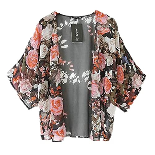 Bluester 1PC Vintage Retro Floral Loose Shawl Kimono Boho Chiffon Cardigan Coat Jacket