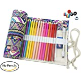 CreooGo Canvas Pencil Wrap, Travel Drawing Pencil Roll For Artist, Pencils Pouch Case Hold For 36 Colored Pencils (Pencils are not included)-Bohemian,36 Holes