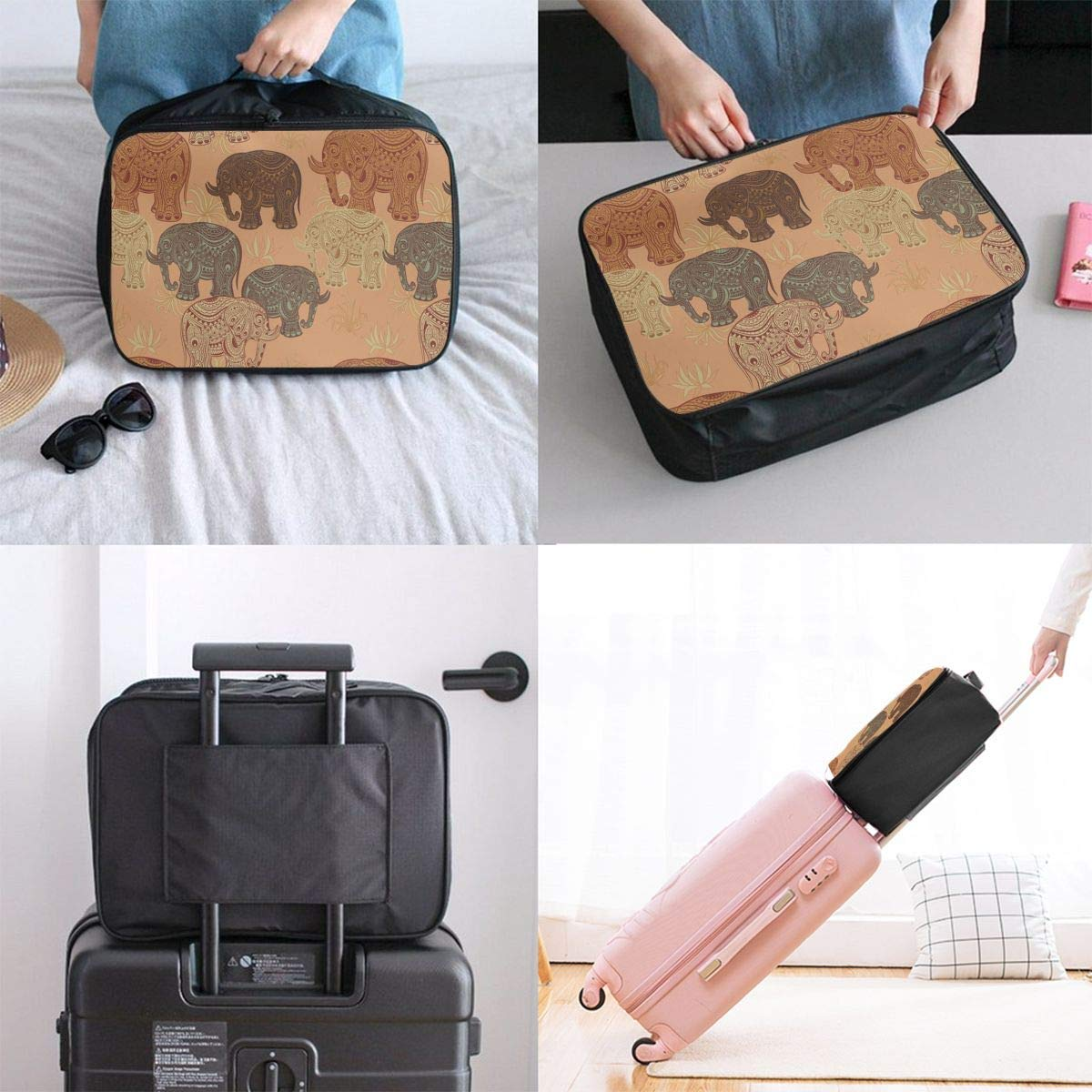 JTRVW Travel Luggage Trolley Bag Portable Lightweight Suitcases Duffle Tote Bag Handbag Vintage Lotus Ethnic Elephant Pattern