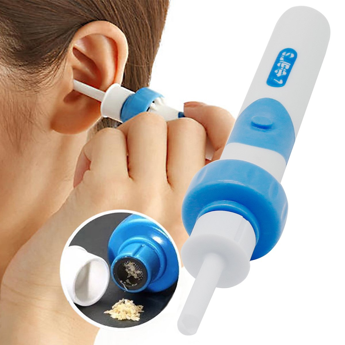 Ear Wax Remover, Ear Cleaner, Ear Wax Cleaner, 2 Removable Silicone Tips for Infants, Babies, Teenagers Adults BUOCEANS