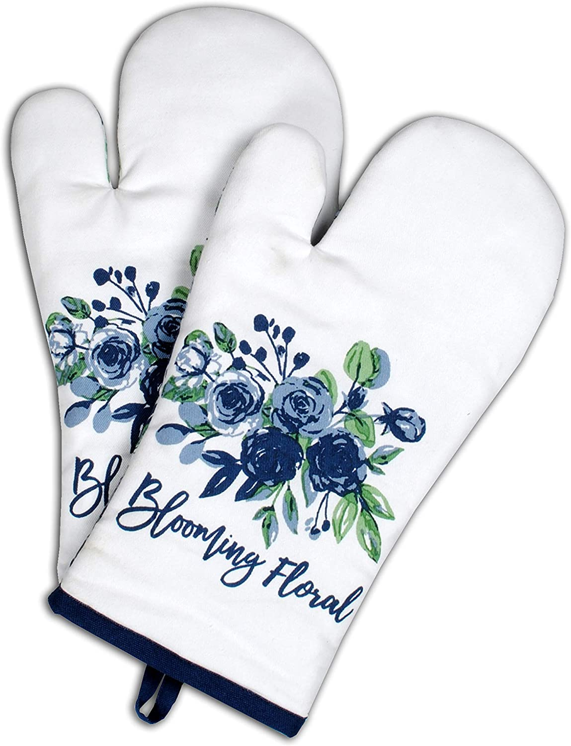 AMOUR INFINI Oven Mitts | Blooming Floral | Set of 2 | 7 x 13 Inches |100% Natural Cotton | Durable Heat Resistant for Kitchen and Machine Washable | Eco - Friendly & Safe