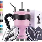 Koodee 30 oz Purple Pink Tumbler Stainless Steel Vacuum Insulated Coffee Travel Mug with 2 Lids, 2 Straws, Brush,Handle…