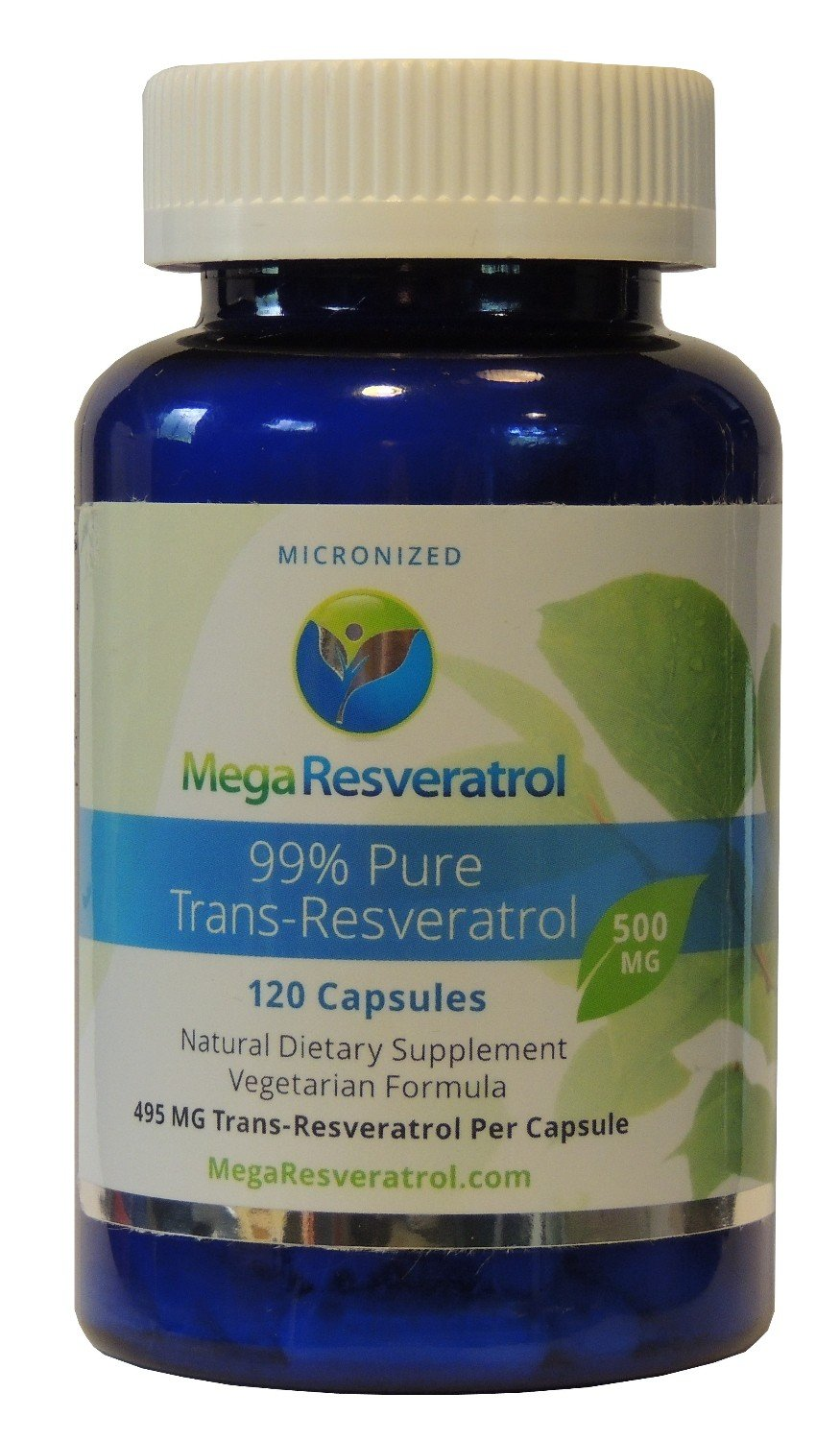 Mega Resveratrol, Pharmaceutical Grade, 99% Pure Micronized Trans-Resveratrol, 120 Vegetarian Capsules, 500 mg per Capsule. Purity Certified. Absolutely no excipients (aka Inactive Ingredients) Added by Mega Resveratrol (Image #1)