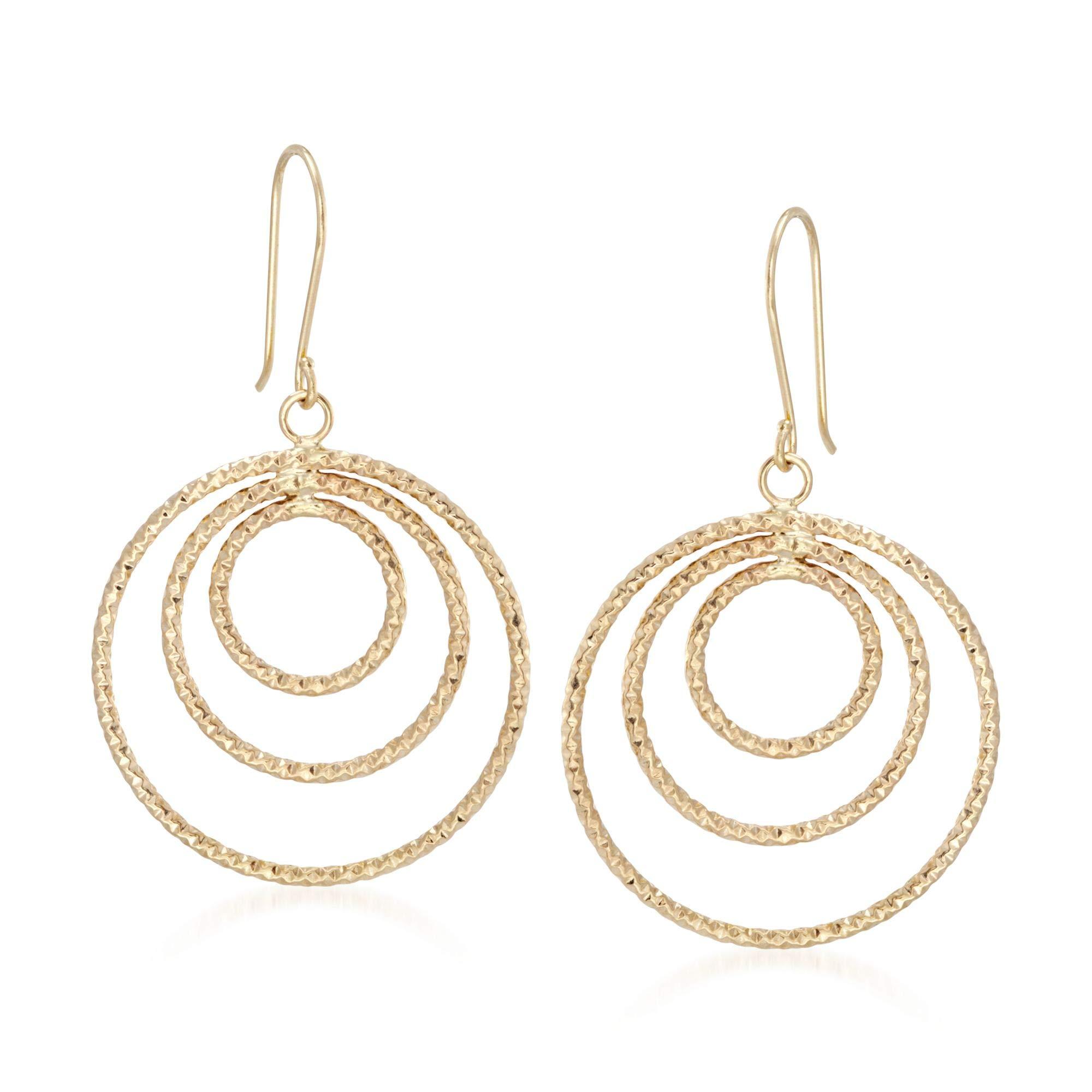 Ross-Simons 14kt Yellow Gold Triple Circle Drop Earrings