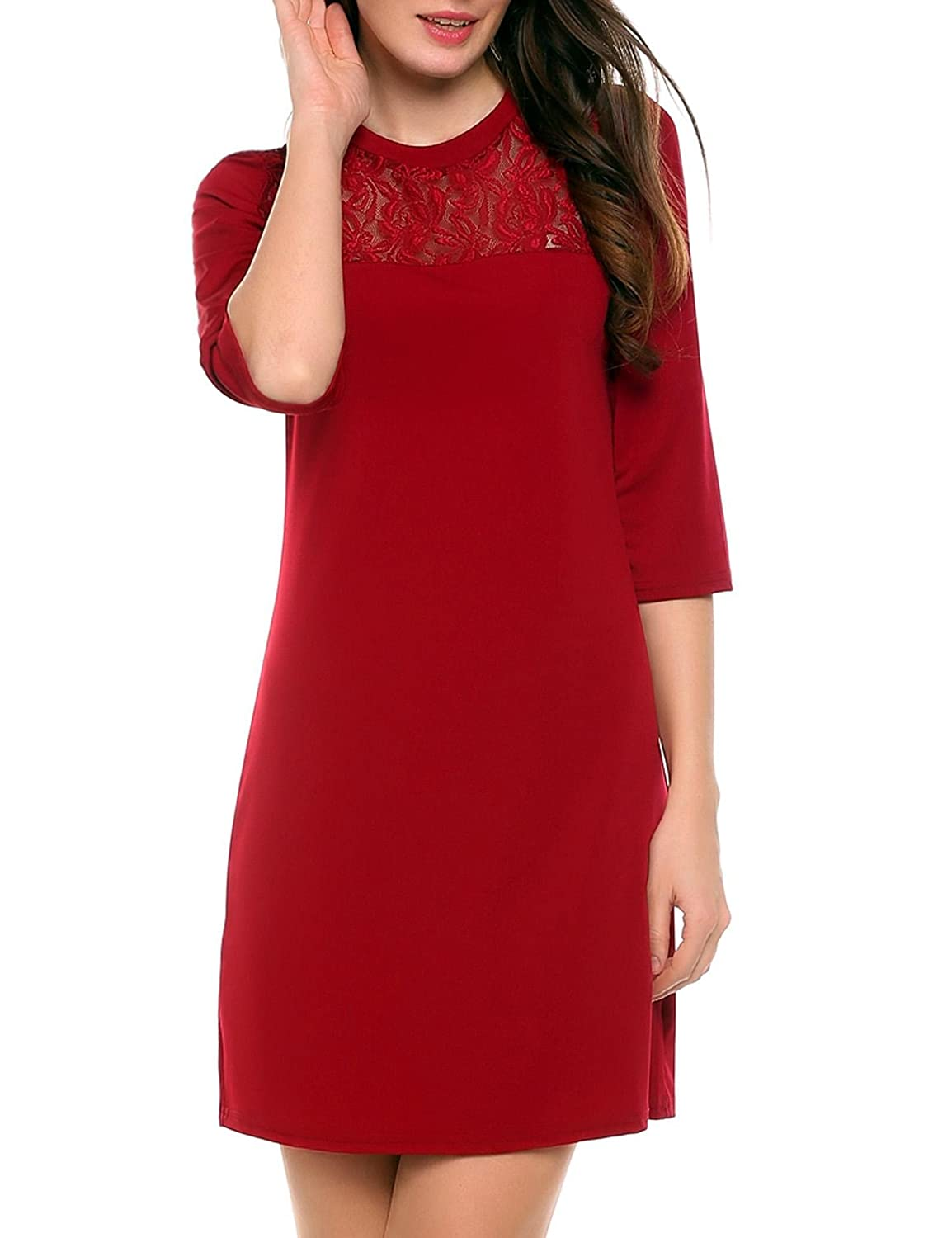 ACEVOG Women's 3/4 Sleeve Lace Patchwork Casual Tunic Shift Dress **AMH009116