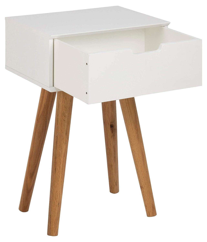 AC Design Furniture Muebles de Diseño Mesita de Noche Mariela, Madera, Blanco, 30 x 40 x 61,5 cm