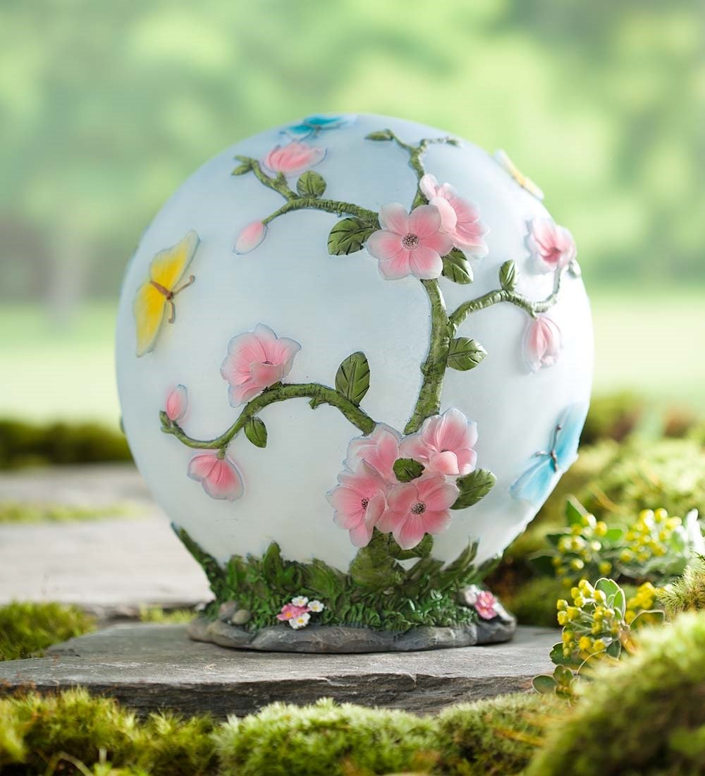 Glowing Color Changing Cherry Blossom Outdoor Solar Powered LED Garden Globe Light with 3D Flower Design 9 Dia.