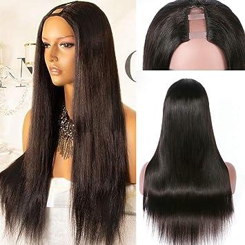 "5bfac0147 7A 16"" Natural Color Silky Straight U Part Human Hair Wigs Virgin Brazilian  Hair Full"