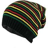 Armycrew Rasta Jamaican Crochet Colorful Stripes Baggie Slouch Acrylic Beanie Hat