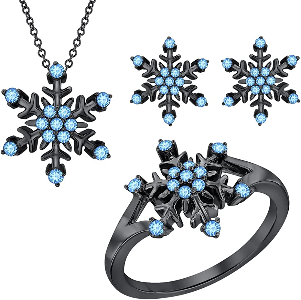 RUDRAFASHION Blue Topaz 14k Black Gold Plated 925 Sterling Silver Snowflake Jewelry Set Ring Earrings Pendant