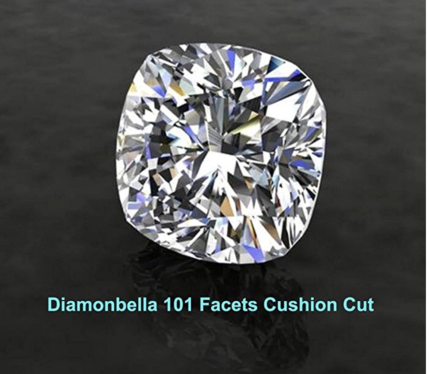 Diamonbella 101 Facets 2 Carat Princess Cushion Cut NSCD Simulated Diamond Ring Double Band Set 925 Silver Platinum Plated Halo