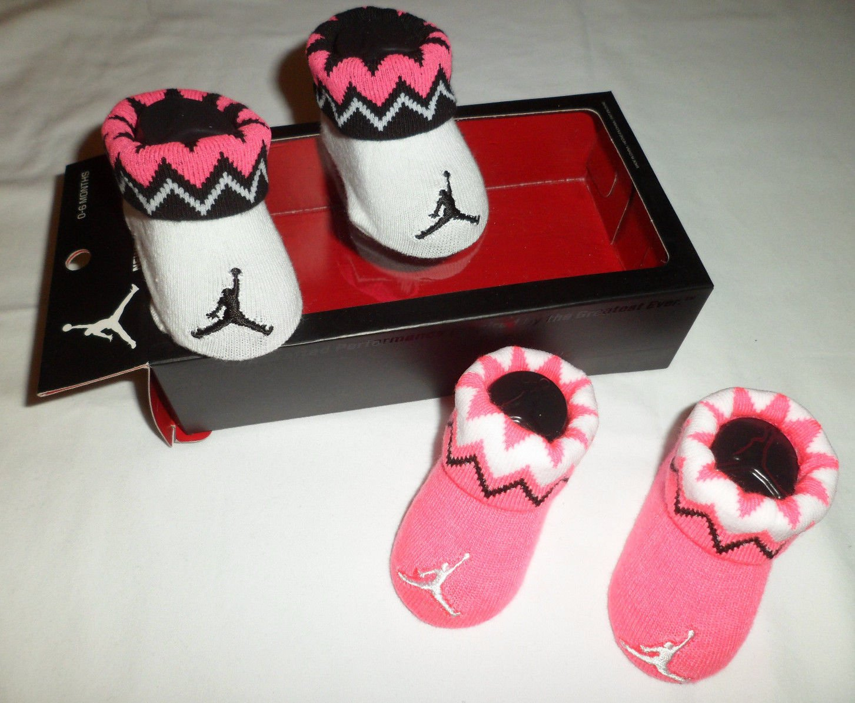 new concept b81b1 75f71 Nike Air Jordan Newborn Baby Girls Pink White Booties Crib Shoes Size 0-6  Months
