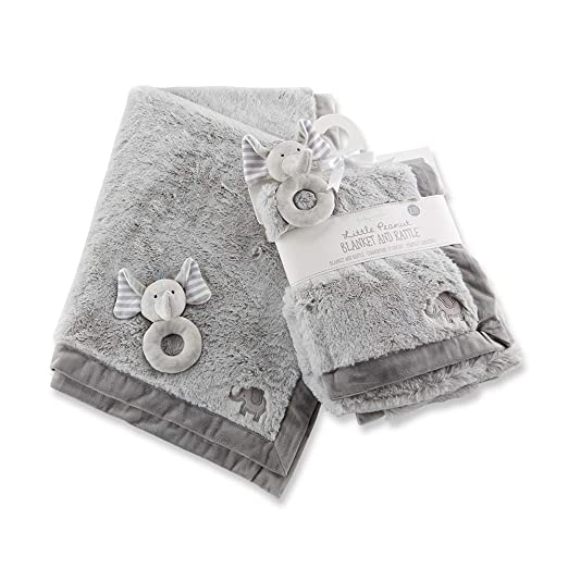 Baby Aspen Little Peanut Elephant Blanket and Rattle Set, Grey/White