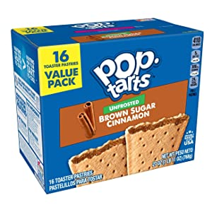 Kellogg's Pop-Tarts Unfrosted - Toaster Pastries Breakfast for Kids, 16 Count, 27 oz (Unfrosted Brown Sugar Cinnamon)