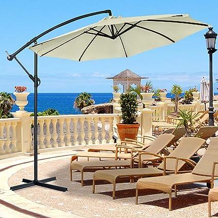 Froadp Ø300cm Sombrillas Plegables de Aluminio Regulables en Altura Manivela Pantalla UV 40+ Protección Parasols para Patio Balcones Terraza Playa Piscina Mercado(Beige): Amazon.es: Jardín