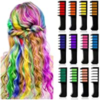 12 Colors Hair Chalk Comb,FOLUXING Temporary Hair Chalk Set for Kids Girls Women,for Birthday Party Cosplay Children's…
