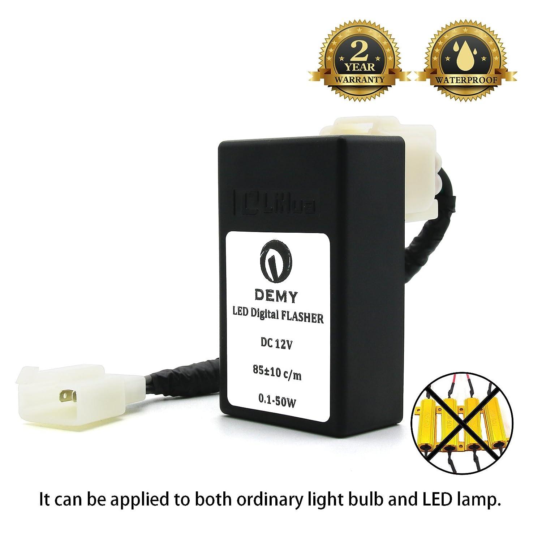 BSK LED Digital Electronic Flasher Relay Waterproof 12V Universal for Motorcycle Turn Signal Light Indicator (1 plug)