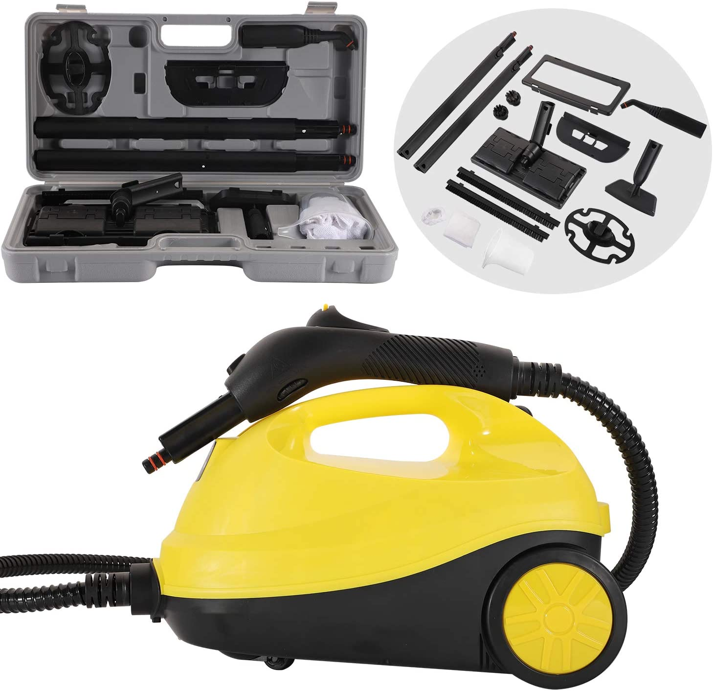 CGOLDENWALL Multi-Purpose Steam Cleaner 2000W Adjustable Heavy Duty Rolling Cleaning Machine Home Steamer for Floor Carpet with 12 Accessories (Yellow, with Storage Box)