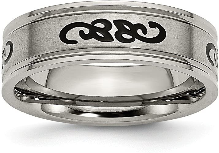 Best Designer Jewelry Titanium Grooved Black IP-plated 8mm Brushed and Polished Band