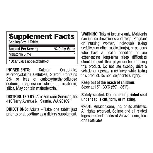 Amazon.com: Amazon Brand - Solimo Melatonin 3mg, 240 Tablets, Eight Month Supply: Health & Personal Care