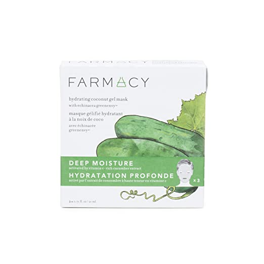 Farmacy Hydrating Coconut Gel Natural Face Mask - Deep Moisture (Cucumber) 3 Pack