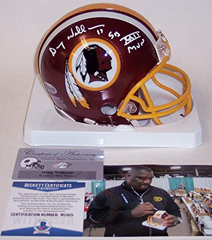 9b4d5226 Image Unavailable. Image not available for. Color: Doug Williams Autographed  Hand Signed Washington Redskins Mini Football Helmet - with SB XXII MVP ...
