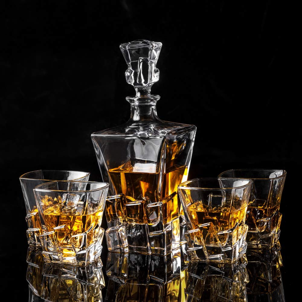 KANARS Iceberg Whiskey Decanter Set With 4 Glasses In Luxury Gift Box - Original Lead Free Crystal Liquor Decanter Set For Scotch or Bourbon, 5-Piece by KANARS (Image #5)