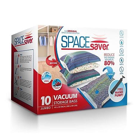 Bolsas de almacenamiento al vacío de Spacesaver, 10 unidadesBomba manual de vacío incluida, para llevar en viajes.