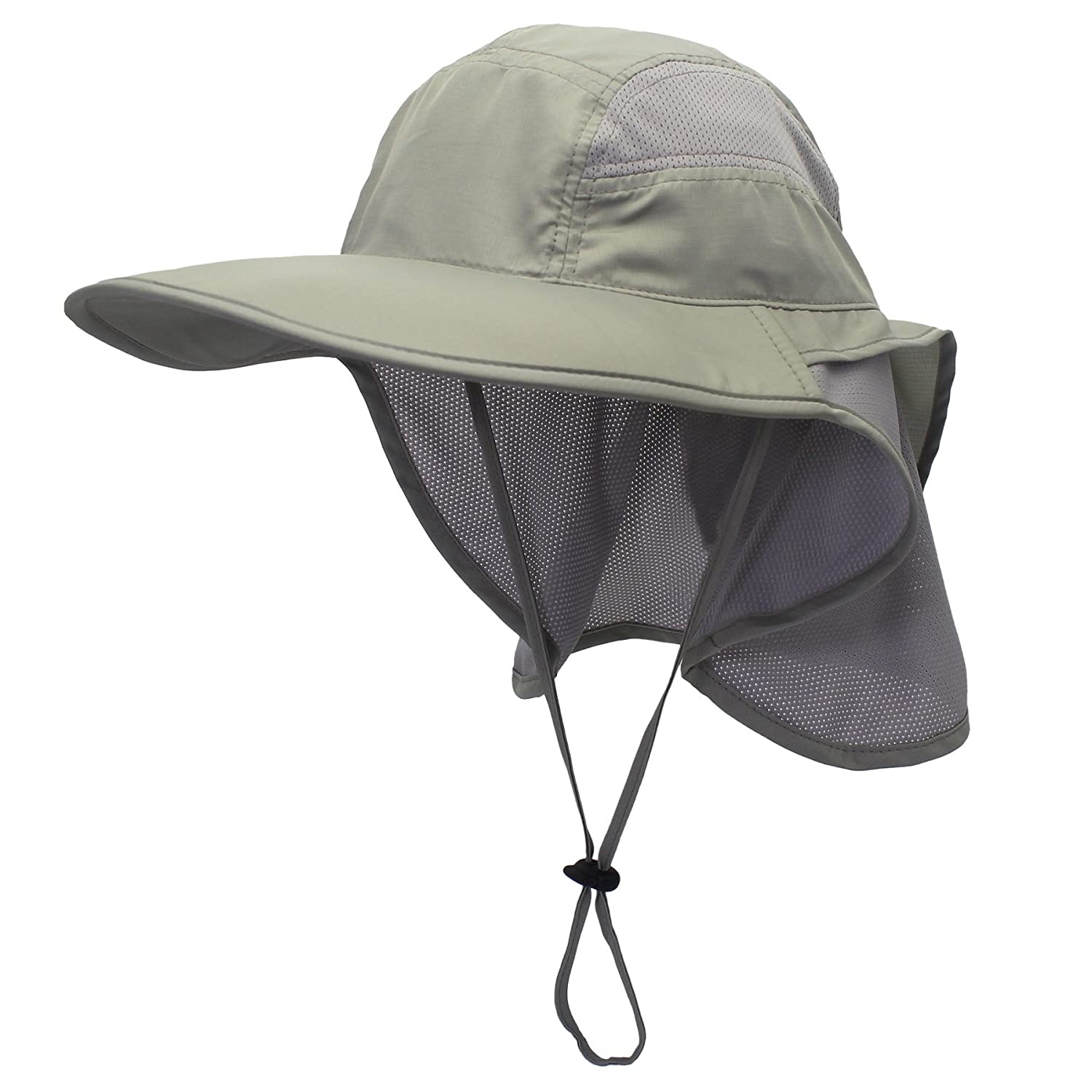 Decentron Outdoor Mens Neck Flap Sun Hat Large Brim Sun Protection Bucket Fishing Hats