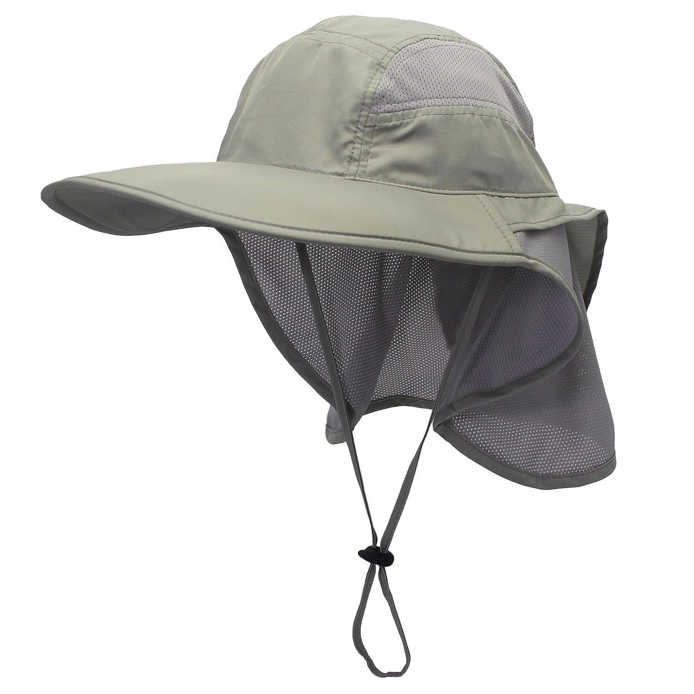 4191bfab783 Amazon.com  Connectyle Outdoor Mens Neck Flap Sun Hat Large Brim Sun  Protection Bucket Fishing Hats Hiking Cap  Clothing