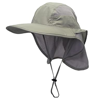 466425fb48a Decentron Outdoor Mens Neck Flap Sun Hat Large Brim Sun Protection Bucket  Fishing Hats Hiking Cap  Amazon.co.uk  Clothing