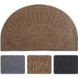 Half Round Door Mat Entrance Rug Floor Mats, Waterproof Floor Mat Shoes Scraper Doormat, 18''x30'' Patio Rug Dirt Debris Mud