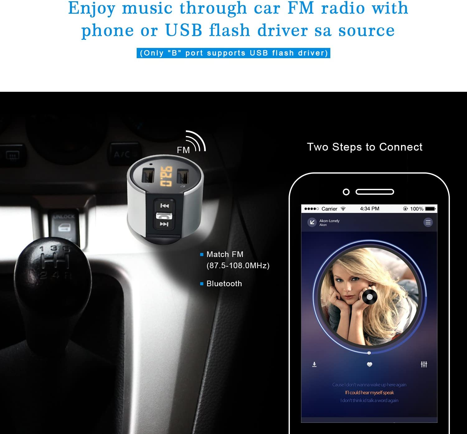 Wireless Bluetooth FM Radio Adapter Car Kit with Hands-Free Calling and 2 Ports USB Charger 5V//2.4A/&1A. ZEEPORTE Bluetooth FM Transmitter for Car