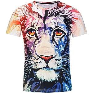 NINGSUN T-Shirt Manica Corta da Uomo Primavera Estate Leone Stampa 3D personalit/à Maglietta Superiore Magliette Casuale Divertenti degli Uomini Tee Tops Camicetta Maglia