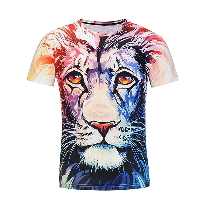 56f1d97960 NINGSUN T-Shirt Manica Corta da Uomo Primavera Estate Leone Stampa 3D  personalità Maglietta Superiore Magliette Casuale Divertenti degli Uomini  Tee Tops ...