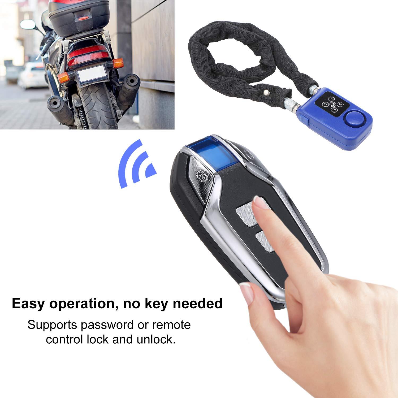 Securome Cerradura de contrase/ña sin Llave Cerradura de Control Remoto inal/ámbrico 80CM Cadena de Acero Cerradura de Alarma antirrobo Cerradura Inteligente Digital para Bicicleta Motocycle IP55
