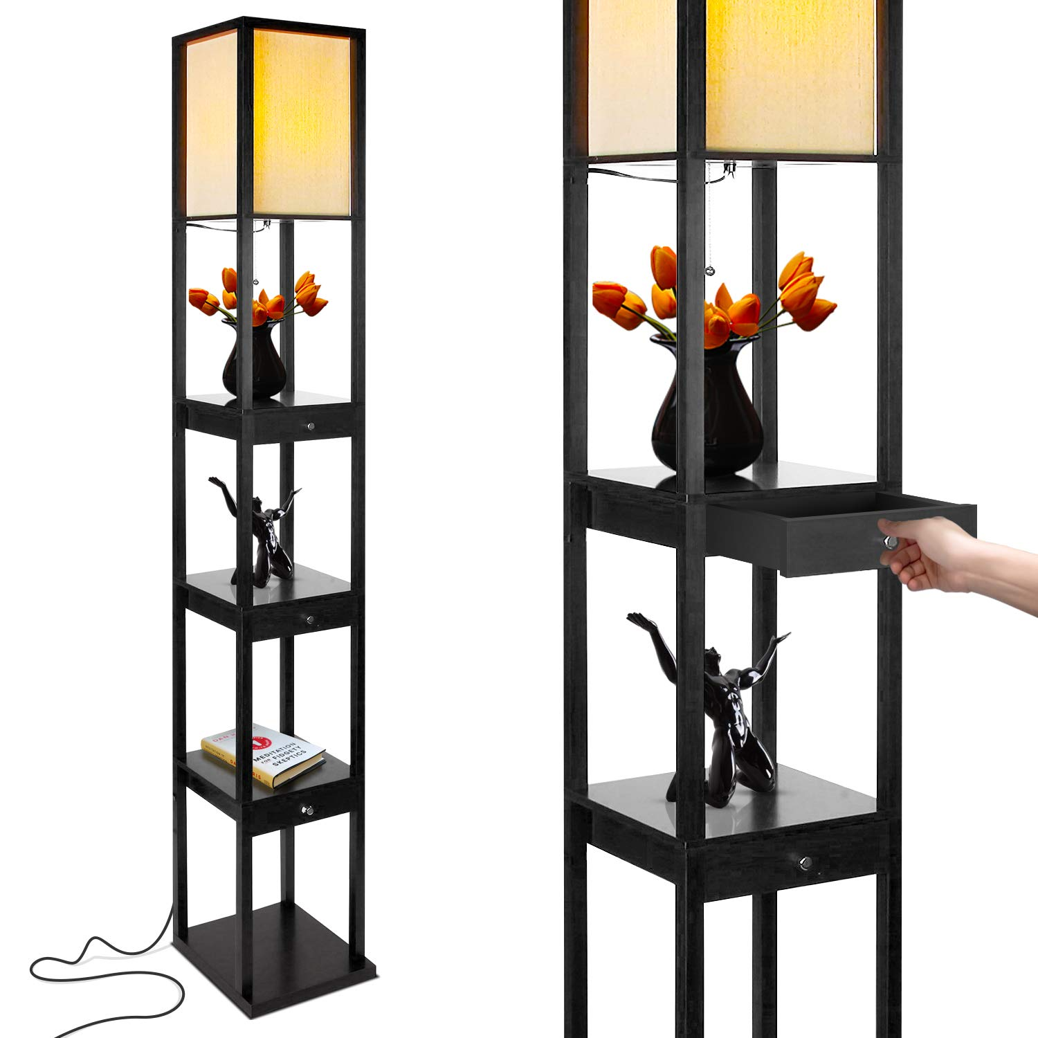 Brightech Maxwell Drawer Edition – Shelf LED Floor Lamp Combination – Modern Living Room Standing Light with Asian Display Shelves – Classic Black