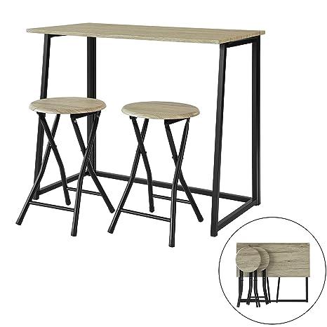 SoBuy OGT18-N,ES Set Mesa Alta de Bar y 2 Taburetes,Mueble Plegable para Cocina (2 Taburetes)