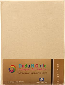 Cream Dudu N Girlie Thick Jersey Cotton Travel Cot Fitted Sheet 65 cm x 95 cm