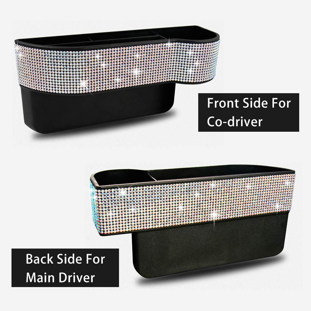 EING Crystal Car Seat Catcher Gap Filler Organizer Side Slit Pocket Coin Side Pocket Console Side Pocket Car Organizer Storage Box,Bling-2PC