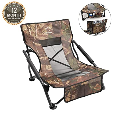 HITORHIKE Camping Strutter Folding Chair with Armrests and Breathable Nylon Mesh Back Compact and Sturdy Camo Low Hunting Chair : Sports & Outdoors