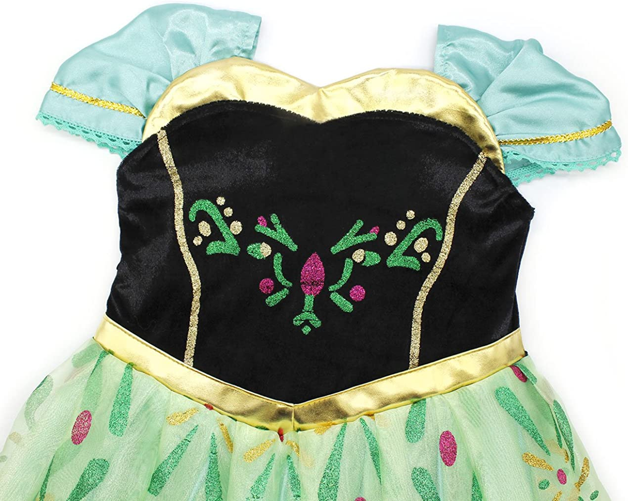 HenzWorld Little Girls Dress Outfits Costume Princess Birthday Party Halloween Cosplay Floral Layered Skirt