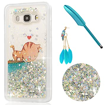 Funda J5 2016, Carcasa para Samsung Galaxy J5 2016 Rígida Liquido Glitter Protección Bumper Agua Dura Case Purpurina Brillo Brillante Resistente Bling ...