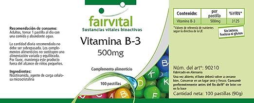 Vitamina B3 Niacina 500mg - Bote para 100 días - VEGANO - Altamente dosificado - 100 comprimidos - nicotinamida - ¡Calidad Alemana garantizada!
