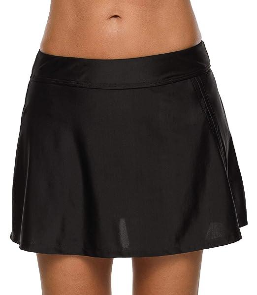 ec0bf630576a8 Anwell Women's Multi-Purpose Swim Bottom Athletic UPF 50+ Sports Skirt  Black M