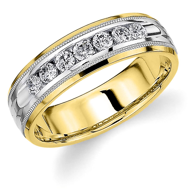 Men's .50ct Grooved Milgrain Diamond Ring in 10K Two Tone Gold - Finger Size 7.5