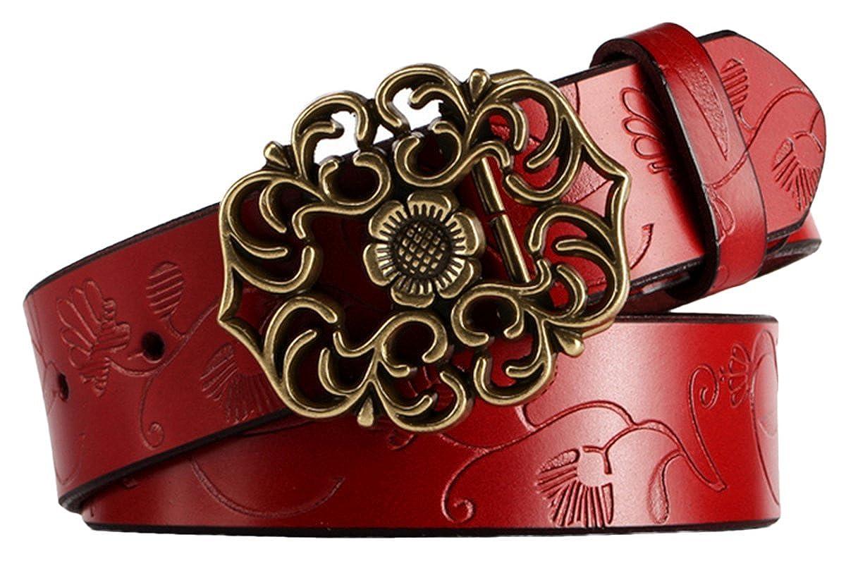 Aivtalk - Mujer Cinturón de Piel Correa Ancha con Hebilla Estilo de Flor Aleación banda con Repujado Waistband para Pantalones Vaqueros