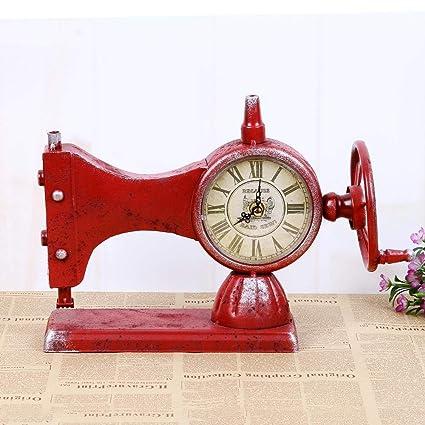 CWLLWC Reloj analógico,Reloj de chimeneaModelos máquina de Coser Cara Reloj máquina de Coser Antigua