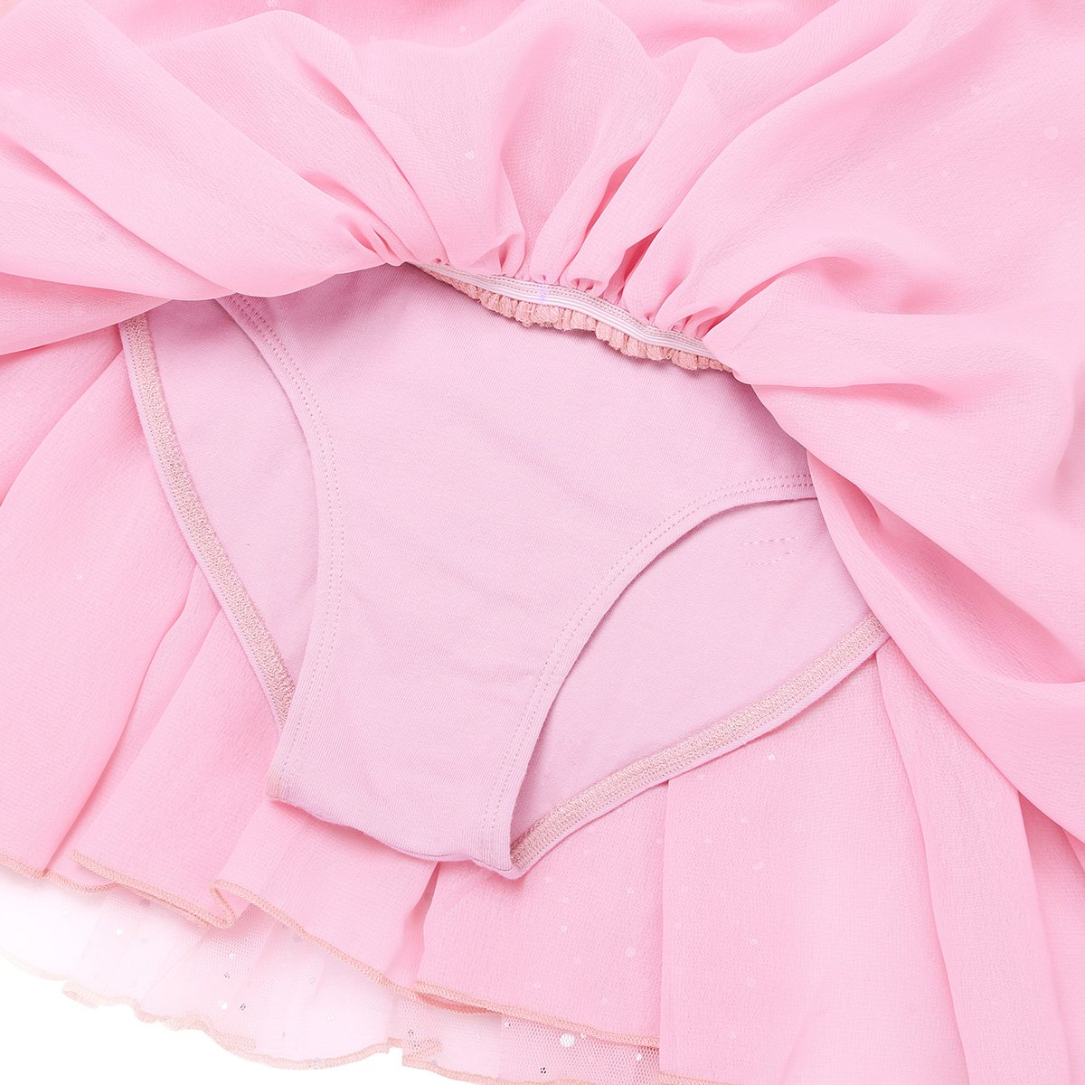 YiZYiF Girls Kids Long Sleeve Sequins Butterfly Skirted Ballet Dress Tutu Dance Leotard